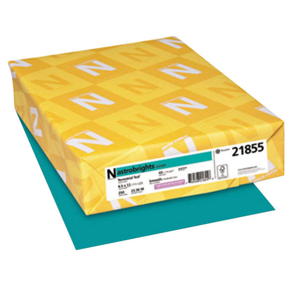 "Astrobrights 21855 8 1/2"" x 11"" Terrestrial Teal Pack of 65# Smooth Color Paper Cardstock - 250 Sheets"