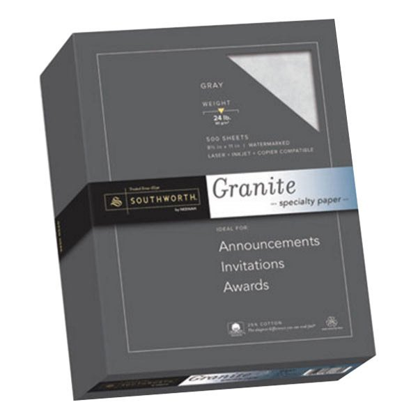 """Southworth 914C 8 1/2"""" x 11"""" Gray Ream of 24# 25% Cotton Granite Specialty Paper - 500 Sheets Main Image 1"""
