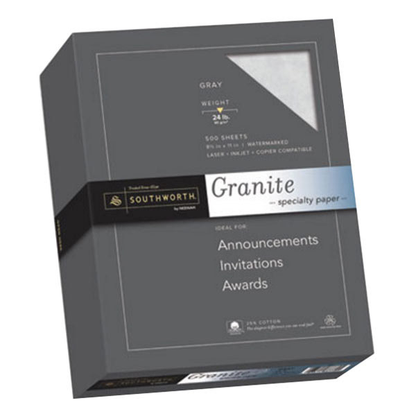 "Southworth 914C 8 1/2"" x 11"" Gray Ream of 24# 25% Cotton Granite Specialty Paper - 500 Sheets"