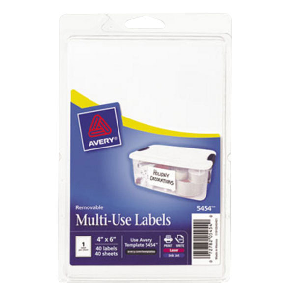 "Avery 5454 4"" x 6"" White Rectangular Removable Write-On / Printable Labels - 40/Pack"