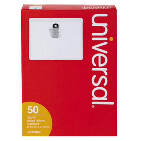 "Universal UNV56003 2 1/4"" x 3 1/2"" Clip-On Badge Holder"