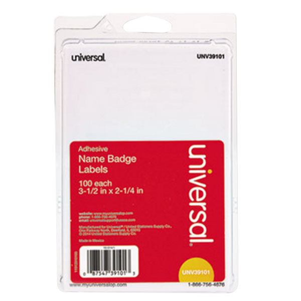 "Universal UNV39101 2 1/4"" x 3 1/2"" White Plain Write-On Self-Adhesive Name Badge - 100/Pack Main Image 1"