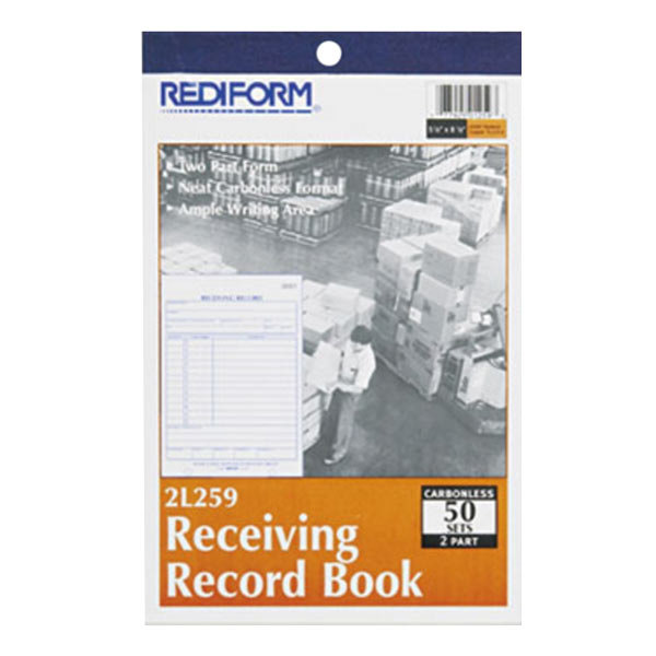 """Rediform Office 2L259 Receiving Record Book, 5 9/16"""" x 7 15/16"""" Two-Part Carbonless, 50 Sets/Book Main Image 1"""