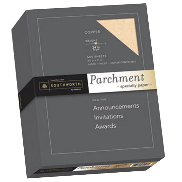 "Southworth 894C 8 1/2"" x 11"" Copper Ream of 24# Parchment Specialty Paper - 500 Sheets Main Image 1"