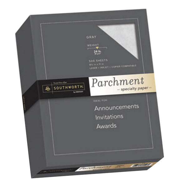 "Southworth 974C 8 1/2"" x 11"" Gray Ream of 24# Parchment Specialty Paper - 500 Sheets"