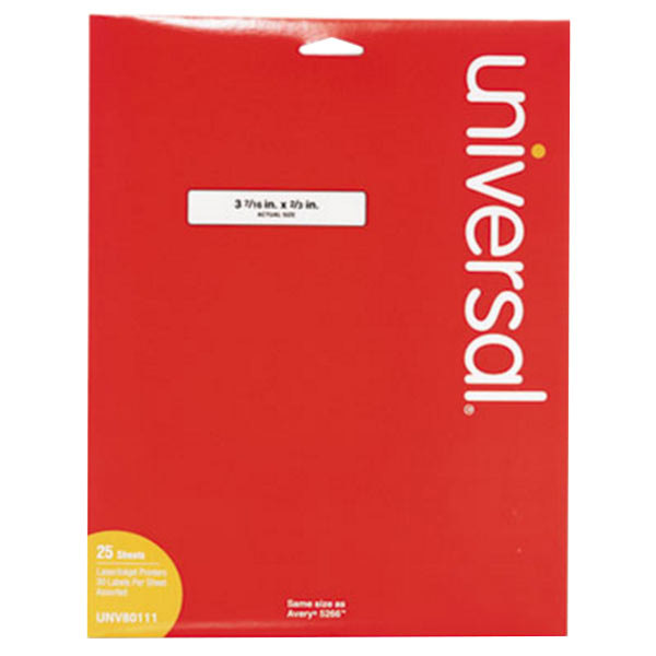 "Universal UNV80111 3 7/16"" x 2/3"" Assorted Color 1/3 Cut File Folder Labels - 750/Pack"