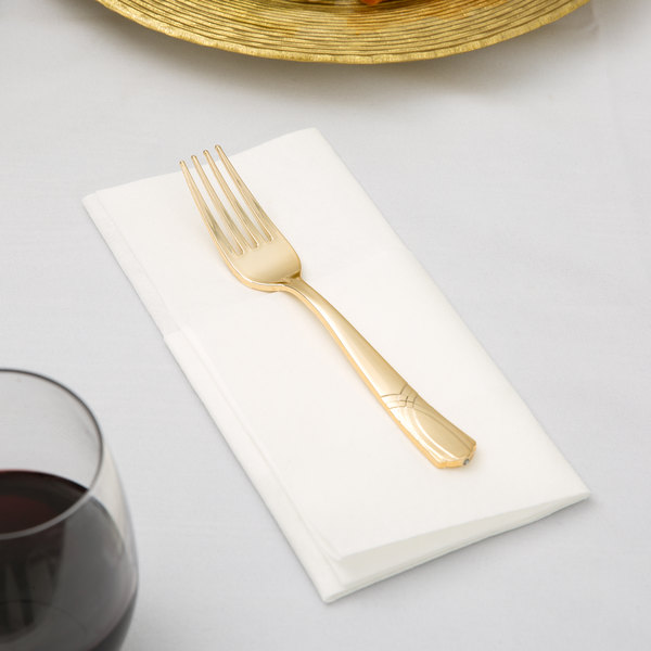 """Gold Visions 7"""" Gold Look Heavy Weight Plastic Fork - 25/Pack"""