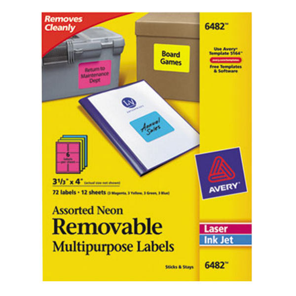 """Avery 6482 3 1/3"""" x 4"""" Assorted Neon Color Removable ID Labels - 72/Pack"""