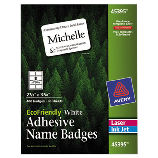 "Avery 45395 2 1/3"" x 3 3/8"" Ecofriendly White Adhesive Name Badge Labels - 400/Pack Main Image 1"