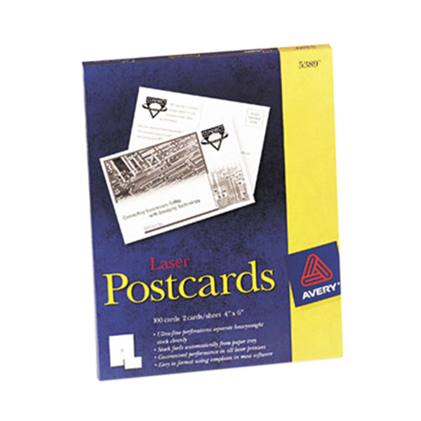 """Avery 5389 4"""" x 6"""" White Printable Postcards - 100/Pack"""