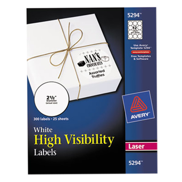 "Avery 5294 2 1/2"" High-Visibility Round White Printable Labels - 300/Pack"