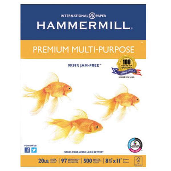 "Hammermill 106310 8 1/2"" x 11"" White Case of 20# Premium Multipurpose Paper - 5000 Sheets"