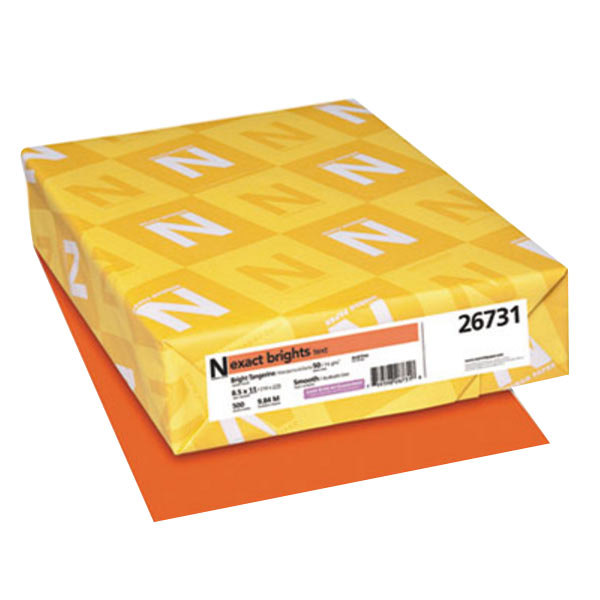 "Neenah 26731 Exact Brights 8 1/2"" x 11"" Bright Tangerine Ream of 20# Copy Paper - 500 Sheets Main Image 1"