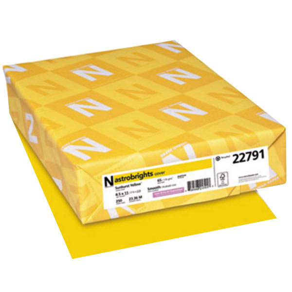 """Astrobrights 22791 8 1/2"""" x 11"""" Sunburst Yellow Pack of 65# Smooth Color Paper Cardstock - 250 Sheets"""