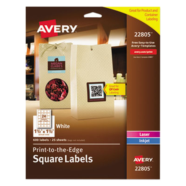 """Avery 22805 Easy Peel 1 1 /2"""" x 1 1/2"""" White Square Print-to-the-Edge Labels - 600/Pack"""