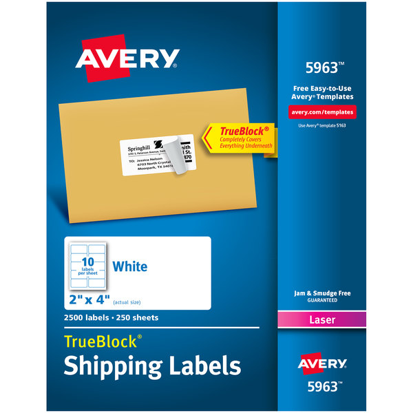 "Avery 5963 TrueBlock 2"" x 4"" White Shipping Labels - 2500/Box Main Image 1"