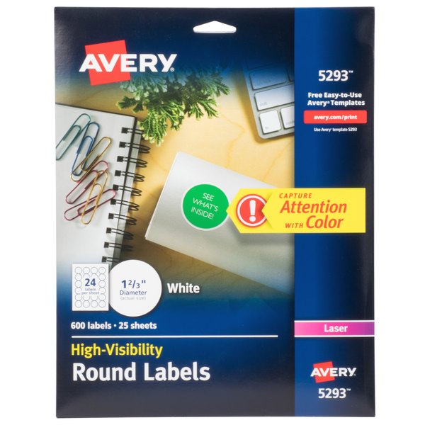 photo relating to Avery Printable Stickers titled Avery 5293 1 2/3\