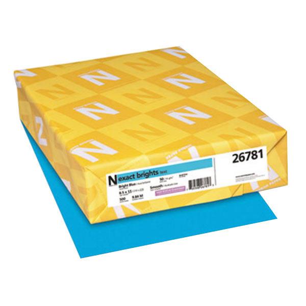 "Neenah 26781 Exact Brights 8 1/2"" x 11"" Bright Blue Ream of 20# Copy Paper - 500 Sheets Main Image 1"