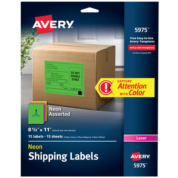 "Avery 5975 8 1/2"" x 11"" High-Visibility Assorted Neon ID Labels - 15/Pack"