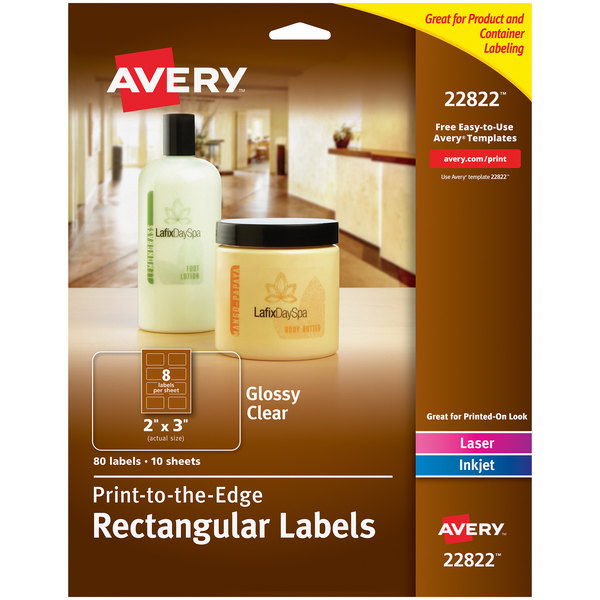 """Avery 22822 Easy Peel 2"""" x 3"""" Clear Glossy Rectangular Print-to-the-Edge Labels - 80/Pack Main Image 1"""
