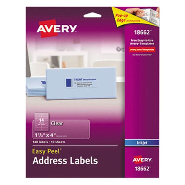 "Avery 18662 Easy Peel 1 1/3"" x 4"" Clear Inkjet Printer Address Labels - 140/Pack Main Image 1"