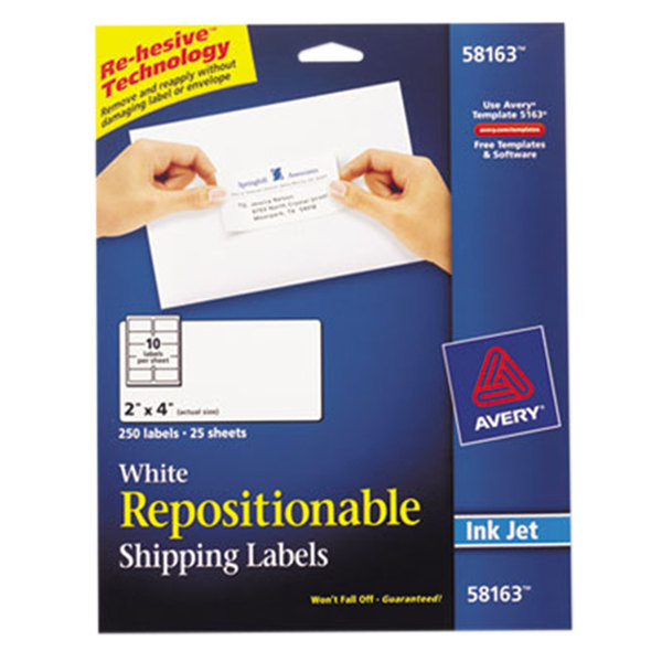 """Avery 58163 2"""" x 4"""" White Repositionable Mailing Address Labels - 250/Pack"""