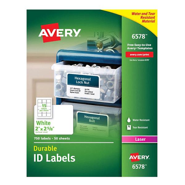 "Avery 6578 2"" x 2 5/8"" White Permanent ID Labels - 750/Box"