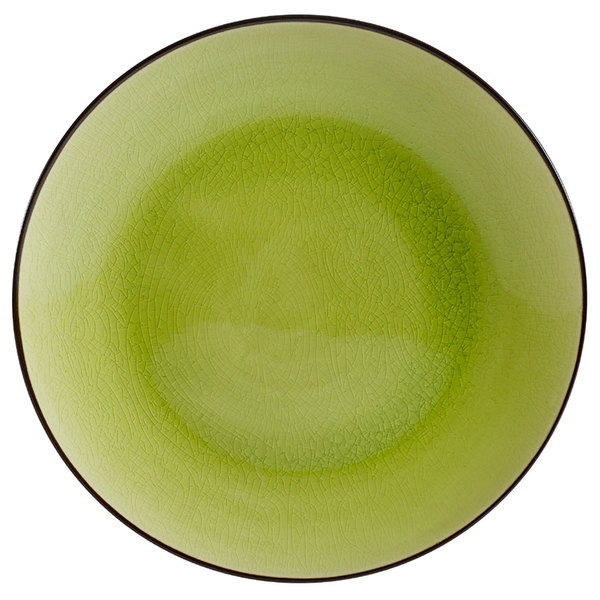 "CAC 666-21-G Japanese Style 12"" China Coupe Plate - Black Non-Glare Glaze / Golden Green - 12/Case"
