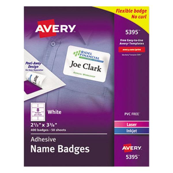 "Avery 5395 2 3/8"" x 3 3/8"" White Flexible Self-Adhesive Laser / Inkjet Name Badge Label - 400/Pack Main Image 1"
