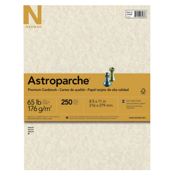 "Neenah 26428 Astroparche 8 1/2"" x 11"" Natural Pack of 65# Specialty Paper Cardstock - 250 Sheets"