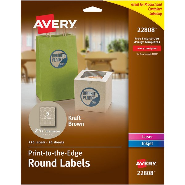 """Avery 22808 2 1/2"""" Kraft Brown Round Print-to-the-Edge Labels - 225/Pack Main Image 1"""