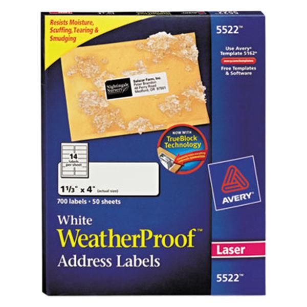 "Avery 5522 TrueBlock 1 1/3"" x 4"" Weatherproof White Mailing Address Labels - 700/Box"