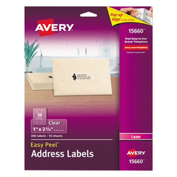 """Avery 15660 Easy Peel 1"""" x 2 5/8"""" Clear Laser Printer Address Labels - 300/Pack Main Image 1"""