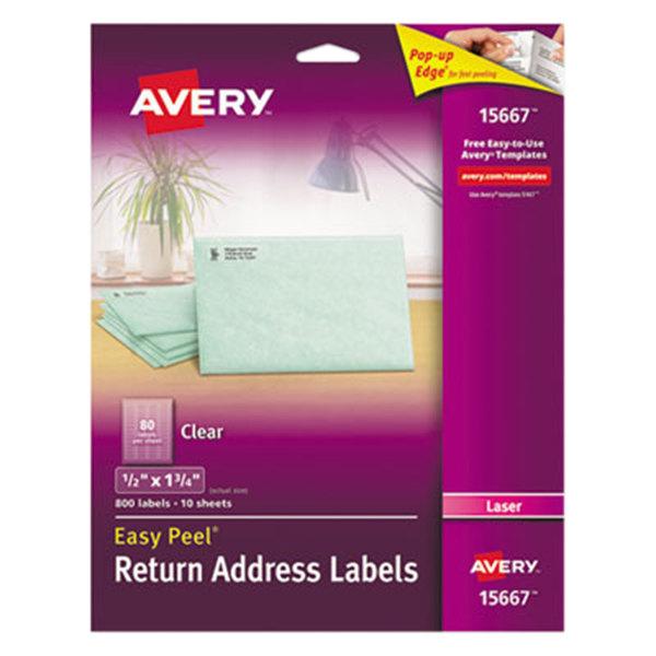 "Avery 15667 Easy Peel 1/2"" x 1 3/4"" Clear Laser Printer Return Address Labels - 800/Pack"