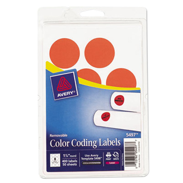 """Avery 5497 1 1/4"""" Neon Red Round Removable Write-On / Printable Labels - 400/Pack"""