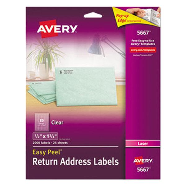 "Avery 5667 1/2"" x 1 3/4"" Easy Peel Clear Return Address Labels - 2000/Pack"