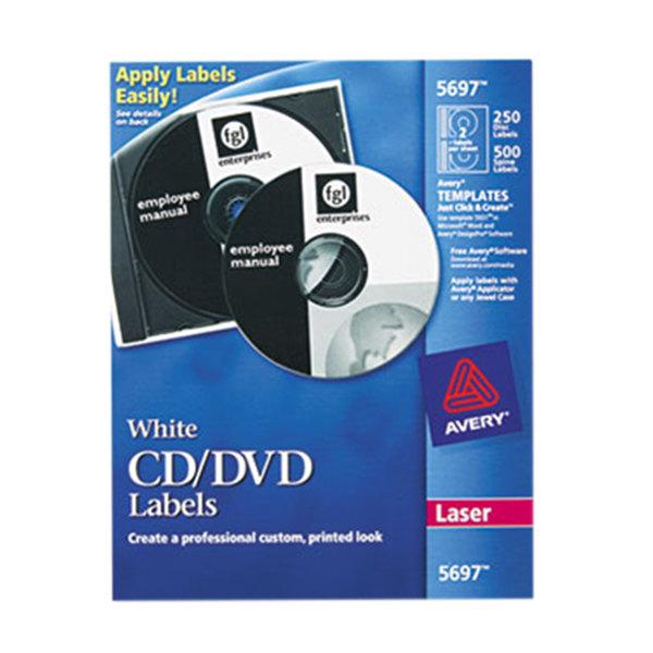 Avery 5697 Matte White CD / DVD Labels - 250/Box Main Image 1