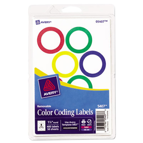 """Avery 5407 1/4"""" Round Removable Color Coding Labels - 400/Pack"""