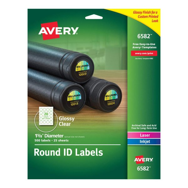 """Avery 6582 1 2/3"""" Round Glossy Clear Permanent ID Labels - 500/Pack Main Image 1"""