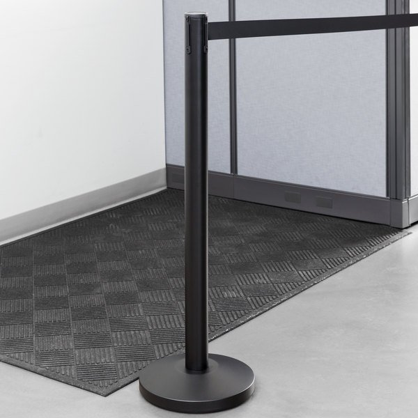 """Lancaster Table & Seating 36"""" Black Metal Crowd Control / Guidance Stanchion with 78"""" Retractable Belt"""