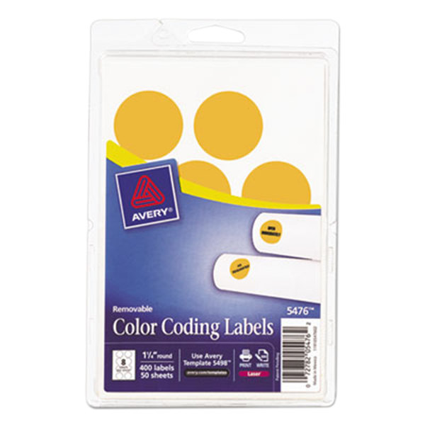 """Avery 5476 1 1/4"""" Neon Orange Round Removable Write-On / Printable Labels - 400/Pack"""