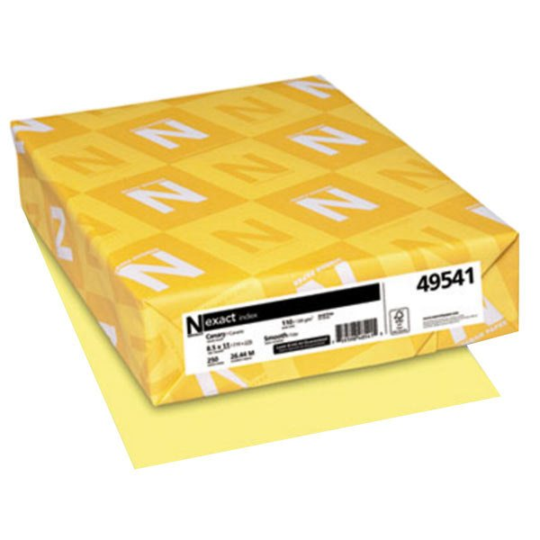 """Neenah 49541 Exact 8 1/2"""" x 11"""" Canary Pack of 110# Index Paper Cardstock - 250 Sheets Main Image 1"""