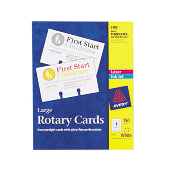 """Avery 5386 3"""" x 5"""" White Large Rotary Cards - 150/Pack Main Image 1"""