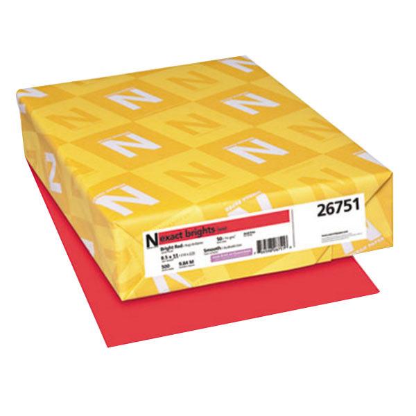 "Neenah 26751 Exact Brights 8 1/2"" x 11"" Bright Red Ream of 20# Copy Paper - 500 Sheets Main Image 1"