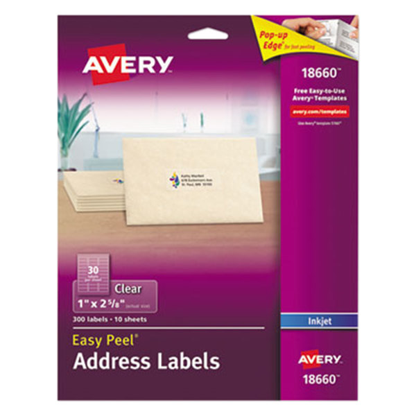 "Avery 18660 Easy Peel 1"" x 2 5/8"" Clear Inkjet Printer Address Labels - 300/Pack"