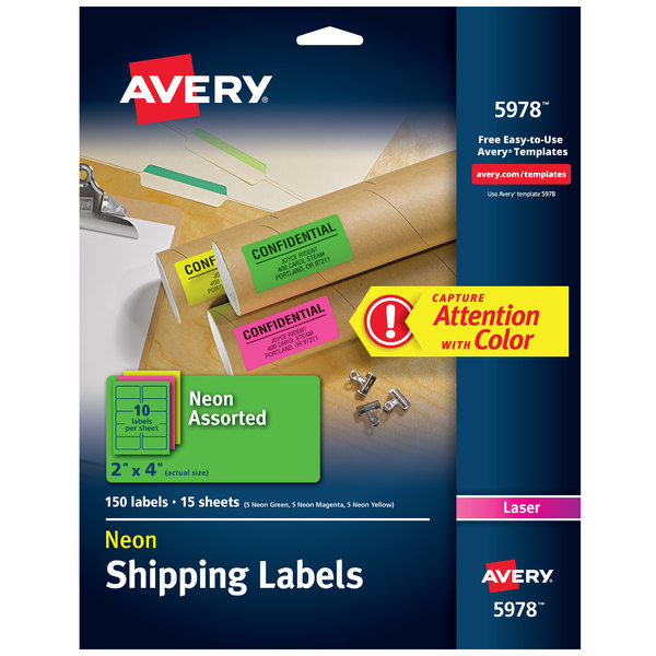 "Avery 5978 2"" x 4"" High-Visibility Assorted Neon ID Labels - 150/Pack"
