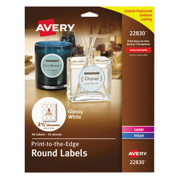 "Avery 22830 2 1/2"" True Print White Glossy Round Print-to-the-Edge Labels - 90/Pack"