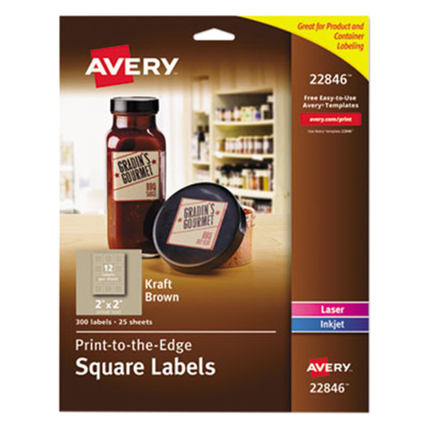 """Avery 22846 2"""" x 2"""" Kraft Brown Square Print-to-the-Edge Labels - 300/Pack"""
