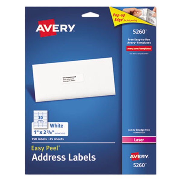 """Avery 5260 Easy Peel 1"""" x 2 5/8"""" Printable Mailing Address Labels - 750/Pack Main Image 1"""