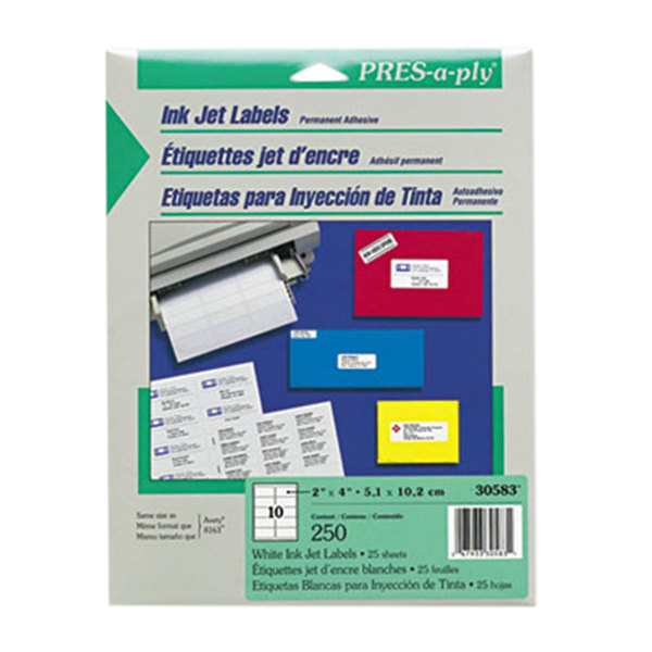 "Avery 30583 PRES-a-ply 2"" x 4"" White Rectangular Inkjet Address Labels - 250/Pack"
